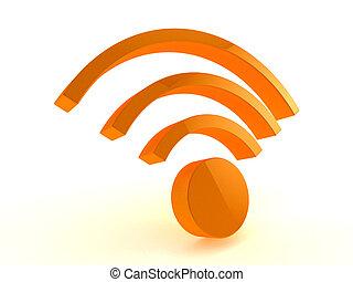 3d, wifi, icon.