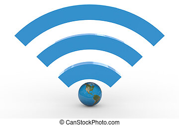 3D wifi sign with earth globe. High signal. Computer...