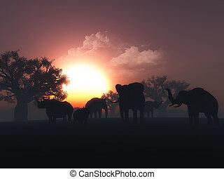 3D wild animals in a sunset landscape