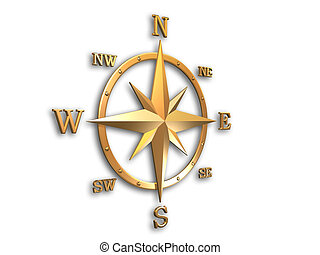 3d generated wind rose in gold metal with soft shadow and clipping path