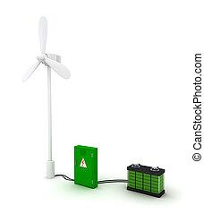 3d Wind turbine and green accumulator.