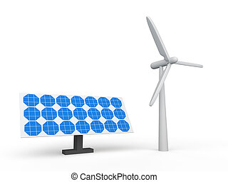 3d wind turbine and solar panel
