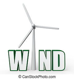 3d wind turbine in word