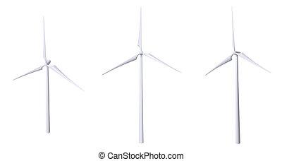 3D Wind Turbine Isolated - Set (white background)