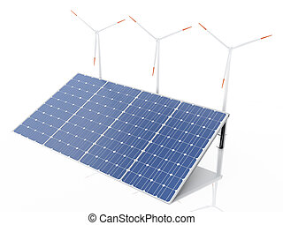 3d wind turbines and solar panels, alternative energy.