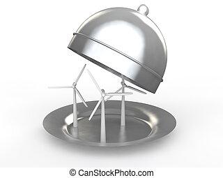 3d wind turbines in a dish