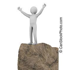 3d winner man on top of cliff - 3d illustration of...