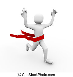 3d winner person crossing finish line. - 3d illustration of...