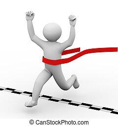 3d winning person crossing finish line - 3d illustration of...