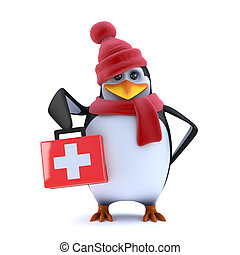 3d Winter penguin brings first aid - 3d render of a penguin...