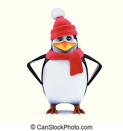 3d Winter penguin has attitude