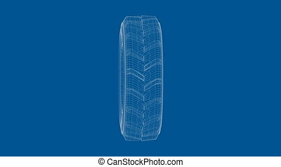 3D wire-frame model of tractor wheel on blue background