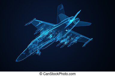 3d Wire Frame sketch of F-18 hornet in xray texture