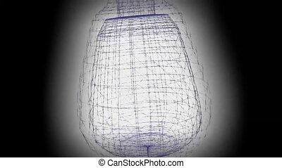3d wireframe animation with vase on black background with light, color changing wireframe urn object in motion