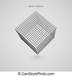 3d wireframe cube. Vector illustration. Technology abstract Illustration.