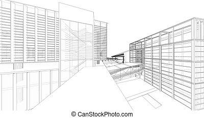 3d, wireframe, de, edificio