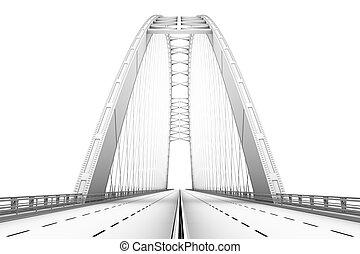 3d, wireframe, render, de, un, puente