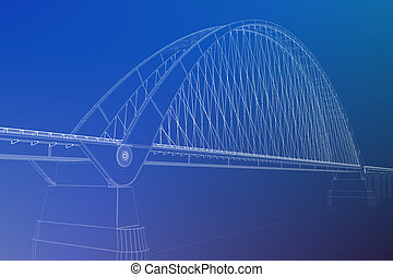 3d, wireframe, render, di, uno, ponte