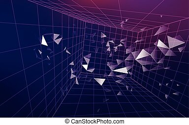 dimension - 3D wirframe grid in dimension, futuristic...