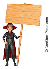 3D Witch with a blank wooden poster. Halloween
