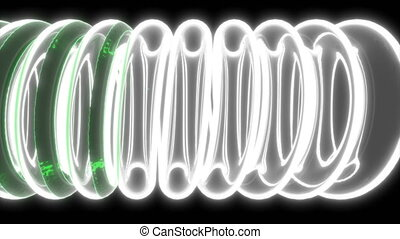 3d with green liquid glass tube coil on black medical design...
