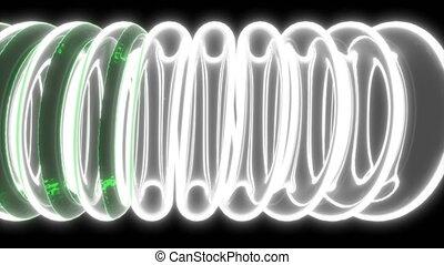 3d with green liquid glass tube coil on black medical design Transparent chemistry glassware 4k