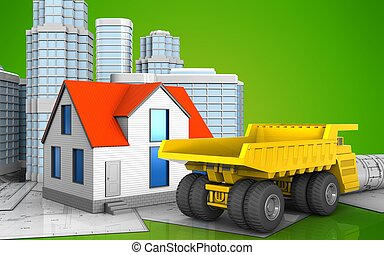 3d with urban scene - 3d illustration of generic house with...
