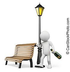 3d, witte , mensen., alcoholism., dronken, kerel