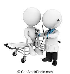 3d, witte , mensen, als, arts