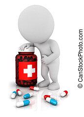3d, witte , mensen, behoeftes, geneesmiddelen