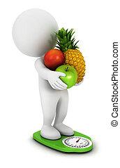 3d, witte , mensen, fruit, dieet