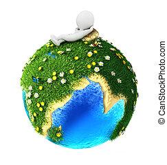 3d, witte , mensen, groene aarde