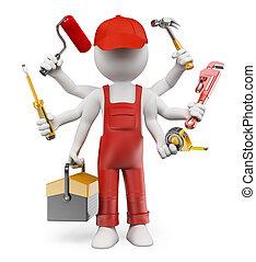 3d, witte , mensen., multitasking, handyman