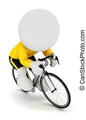 3d, witte , mensen, rennende fietser