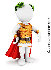 3d, witte , mensen, romein, keizer