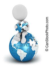 3d, witte , mensen, seated, blauwe , aarde