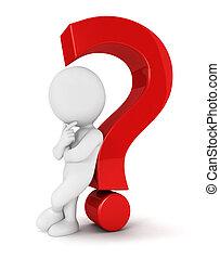 3d, witte , mensen, vraagteken
