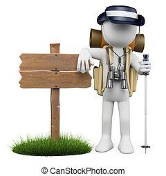 3d, witte , mensen., wandelaar, met, houten, meldingsbord