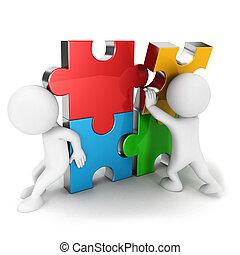 3d, witte , mensen, werken, samen