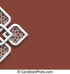 3d, witte , ornament, in, arabische stijl, met, ruimte,...