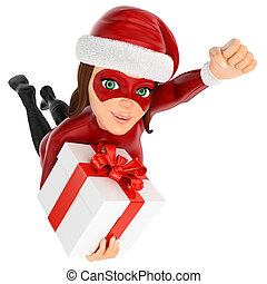 3D Woman christmas superhero flying with a gift