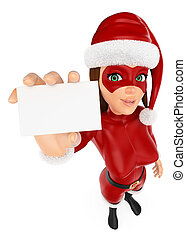 3D Woman christmas superhero showing a blank card