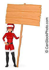 3D Woman christmas superhero standing with a wooden blank poster