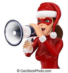 3D Woman christmas superhero talking on a megaphone