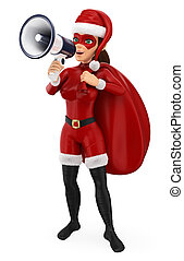 3D Woman christmas superhero with a sack talking on a megaphone