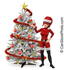 3D Woman christmas superhero with a white christmas tree