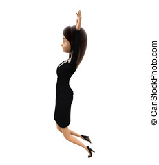 3d woman jumping with high hands concept