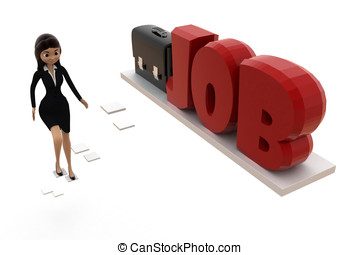 3d woman reaching for job with the help of imaginative  ladder concept