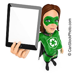 3D Woman superhero of recycling showing a tablet with blank screen