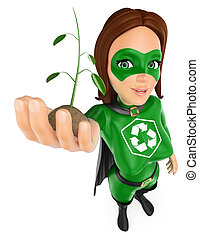 3D Woman superhero of recycling with a plant growing in hand...